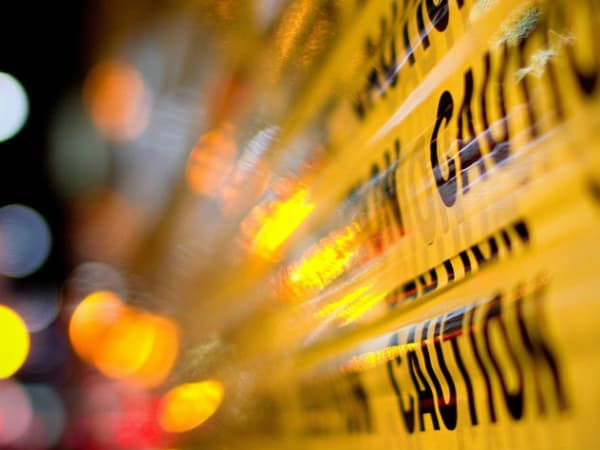 police tape caution police lights