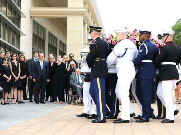 Barbara Bush funeral coffin procession