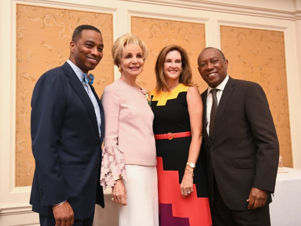 Mayor's Literacy Breakfast Khambrel Marshall, Leisa Holland Nelson, Stephnie Tsuru and Mayor Sylvester Turner