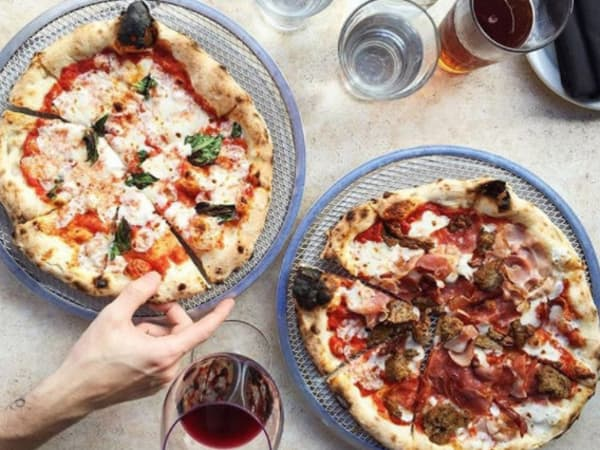 Dough Pizzeria Napoletana pie pizza wine hand