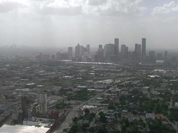 Houston haze Africa dust downtown skyline