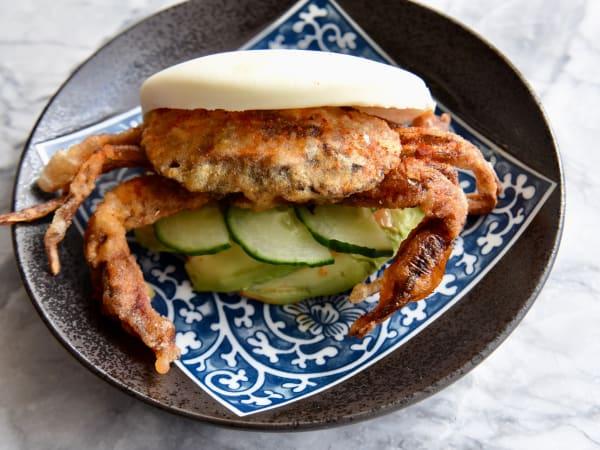 Soft shell crab bun Tobiuo sushi