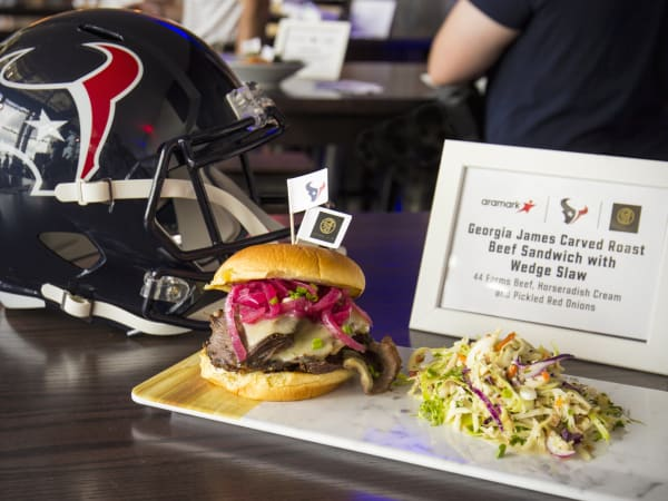 Houston Texans gameday menu Hoffman NRG Stadium Georgia James sandwich