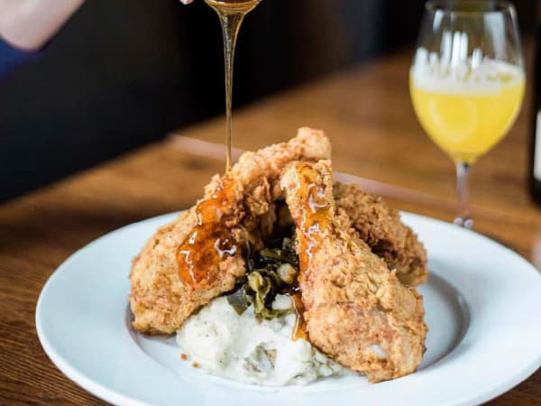 Max's Wine Dive fried chicken and champagne