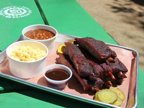 Not Just Q barbecue ribs at Crockett Row
