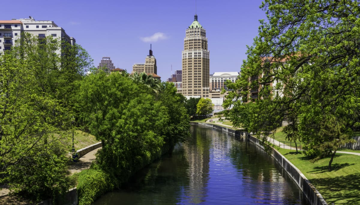 San Antonio River Walk skyline with park