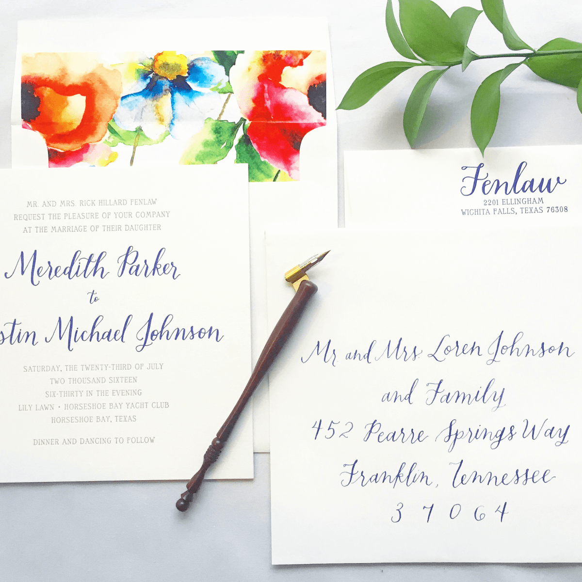 Exquisite Squid Allison Hembd wedding invitation calligraphy