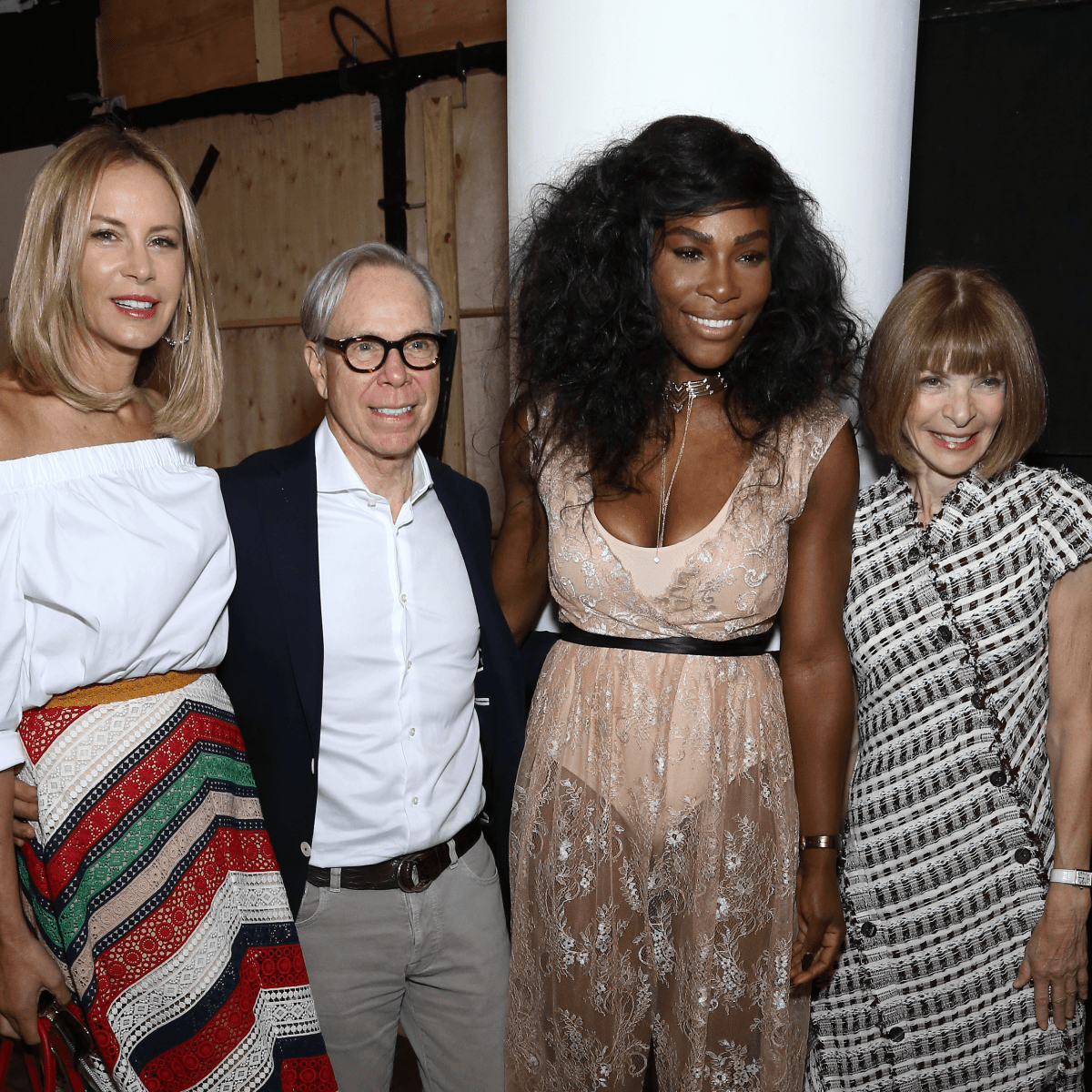 Dee Ocleppo, Tommy Hilfiger, Serena Williams and Anna Wintour attend HSN Presents Serena Williams Signature Statement Collection Fashion Show