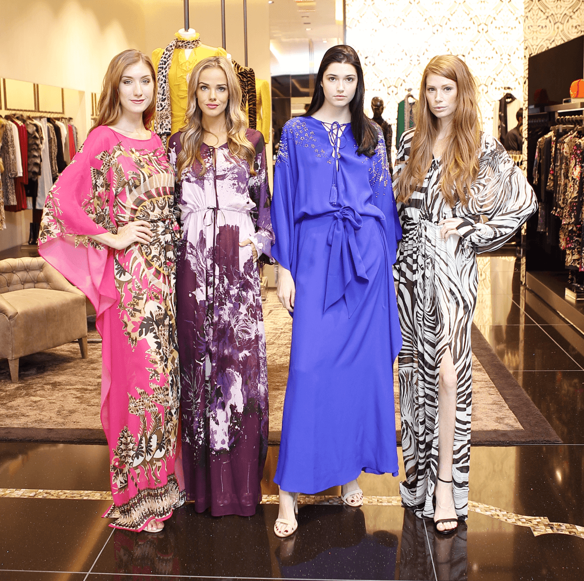 Models in Roberto Cavalli at Una Notte de Italia kickoff lunch