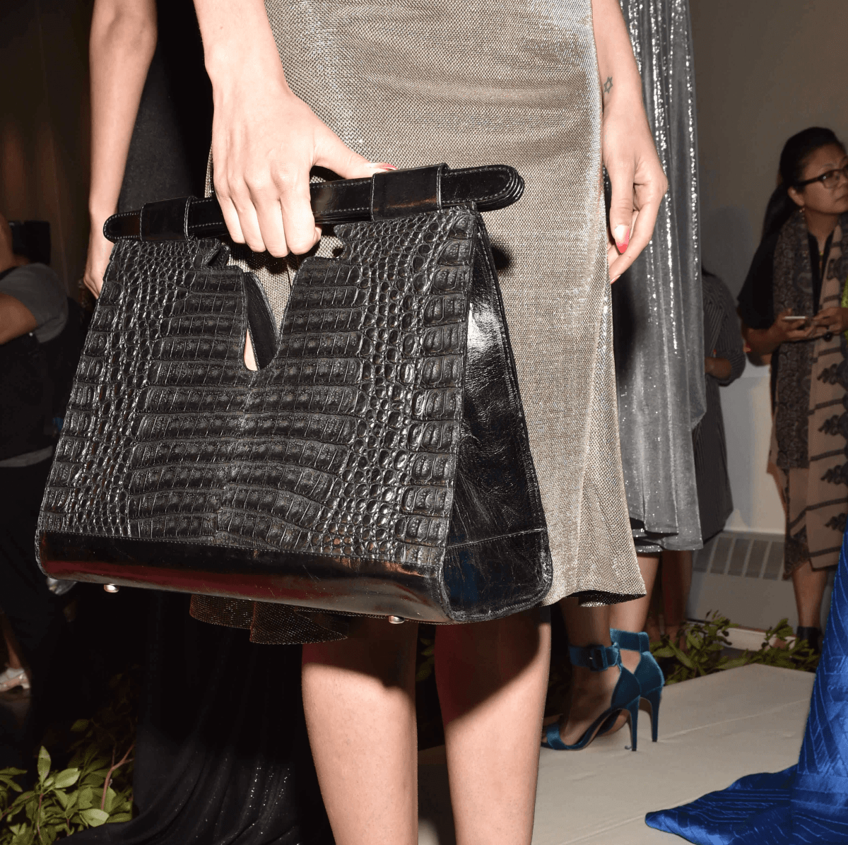 Elizabeth Purpich Collection Longhorn black crocodile handbag at Cesar Galindo Collection