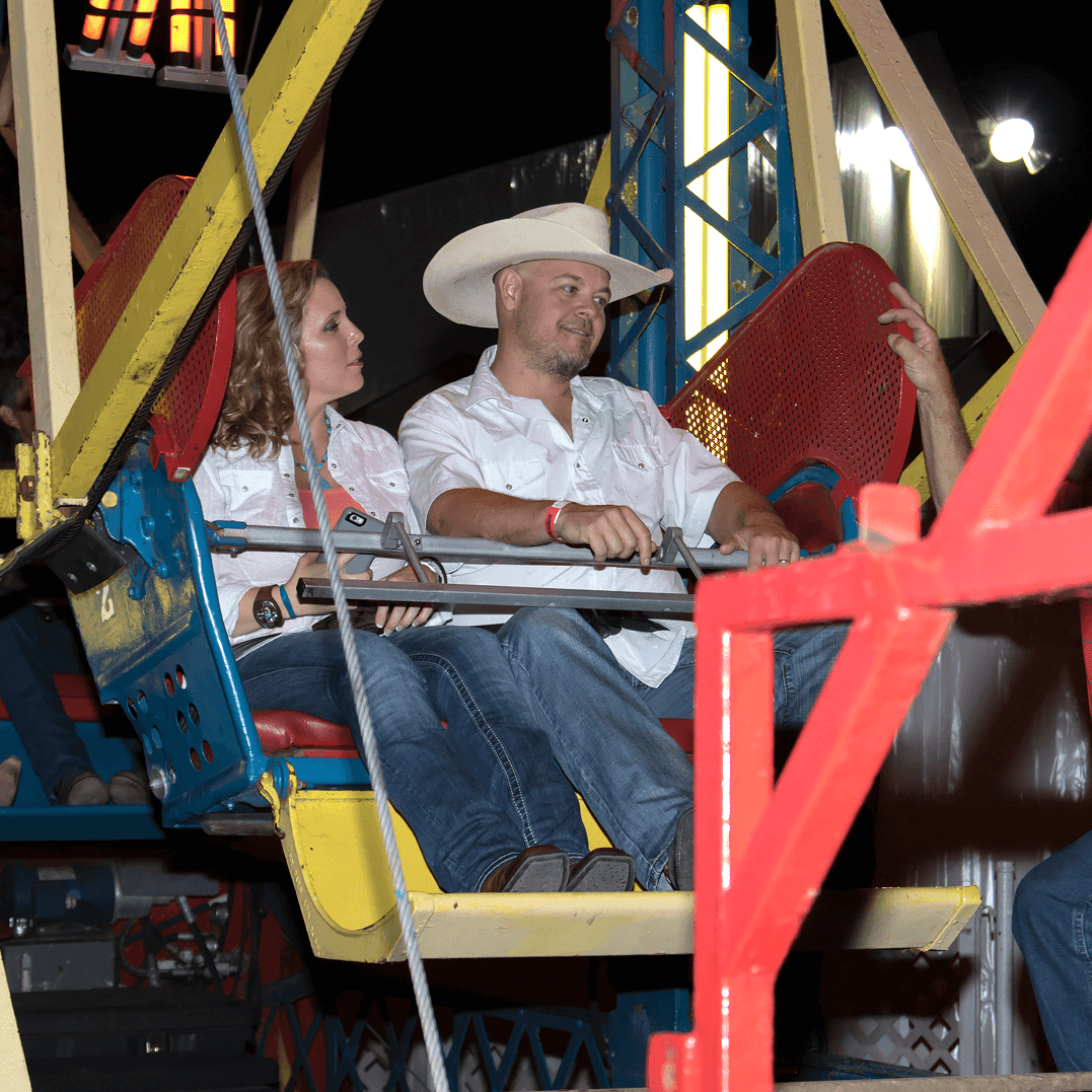 Guest on a Ferris wheel at Cattle Barons Ball 2016