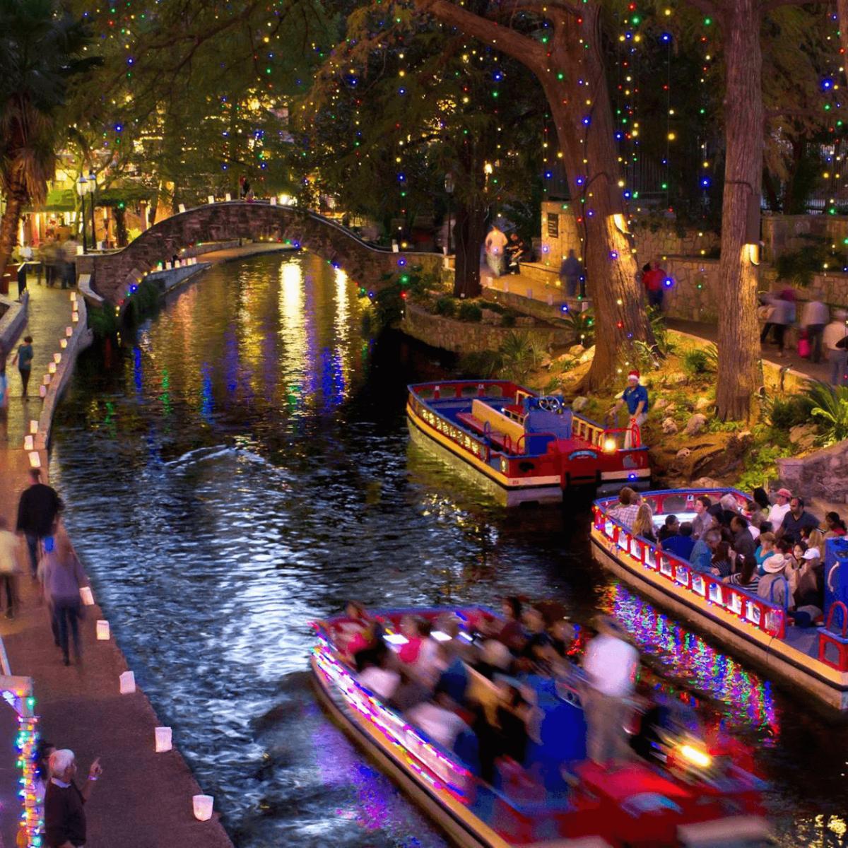 San Antonio Riverwalk Christmas holiday lights