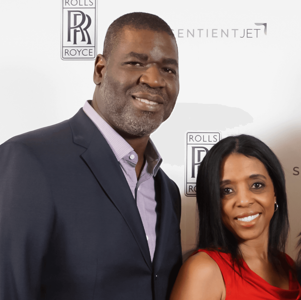 Sean Jones and wife at Saks Fifth Avenue Super Bowl party