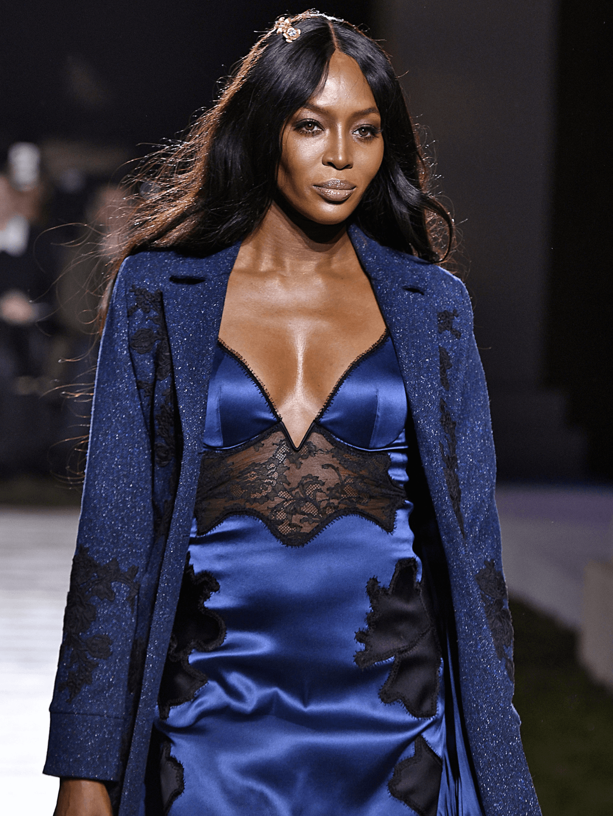 Houston, NYFW La Perla, Feb 2017, Naomi Campbell in navy slip dress