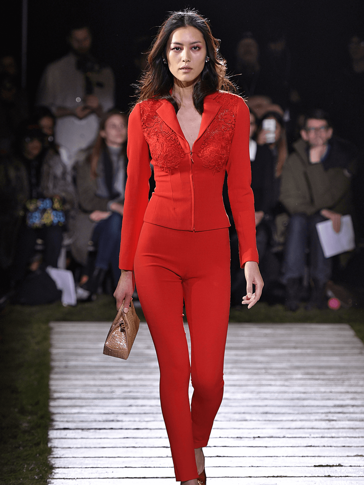 Houston, NYFW La Perla, Feb 2017, tomato red embroidered stretch wool jacket and slacks