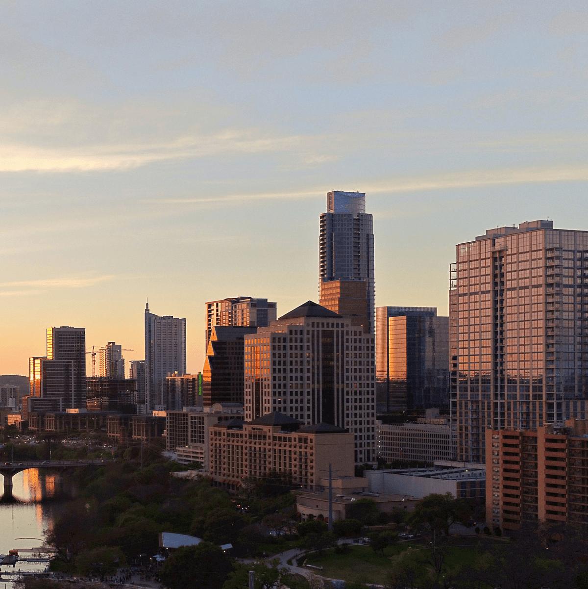 70 Rainey condo downtown Austin skyline view
