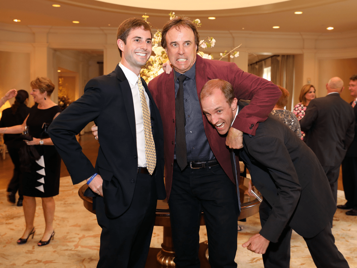 Kevin Nealon clowns around with Jerry Smith (in headlock) and Marshall Hickey at Broach Foundation Gala