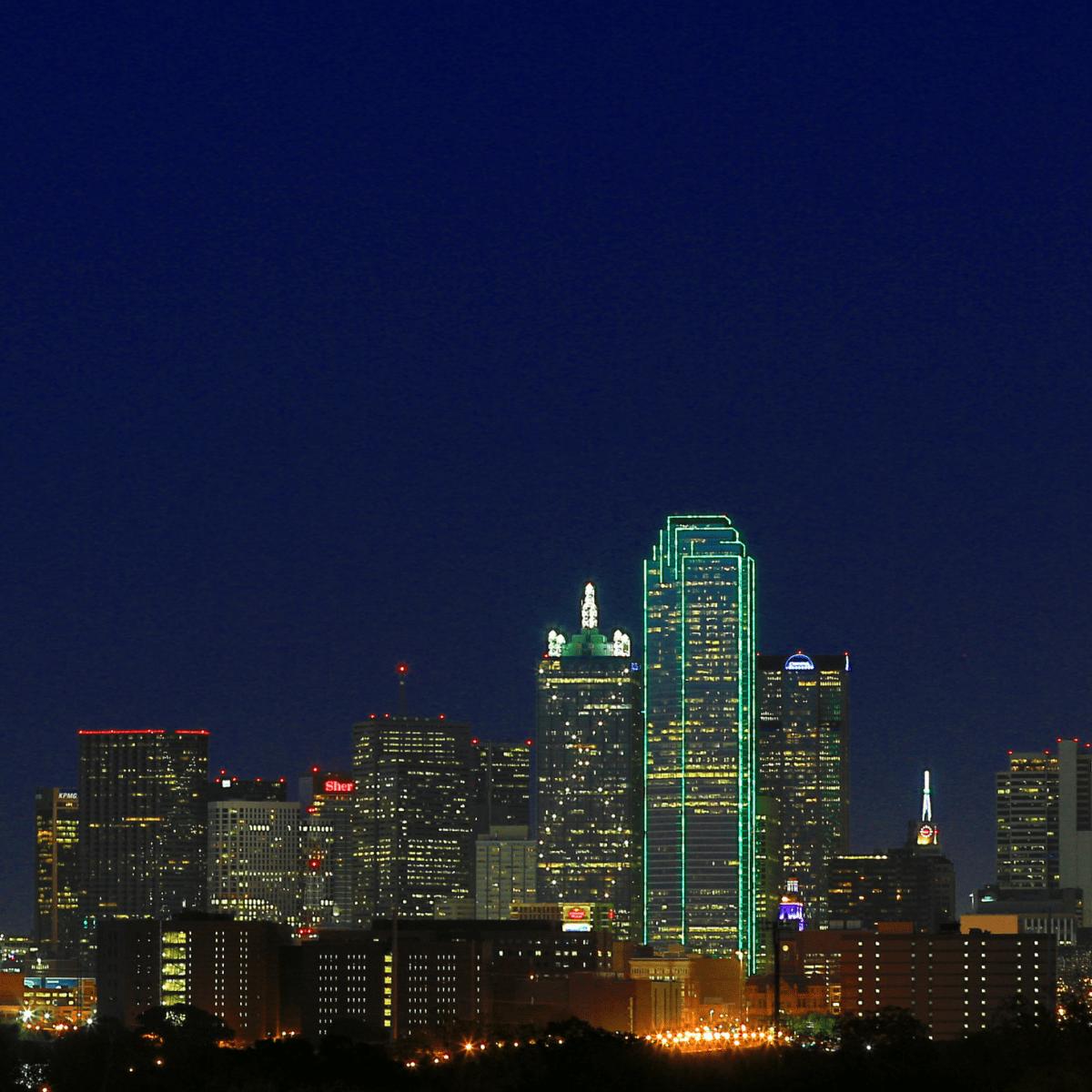 Downtown Dallas skyline with Calatrava bridge