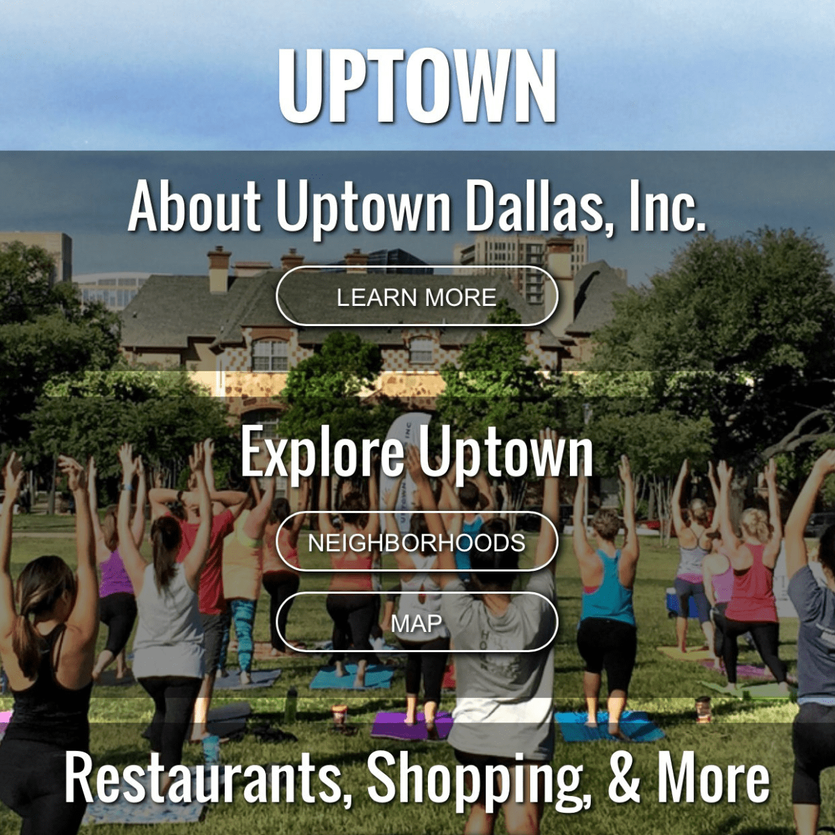 Uptown Dallas Inc new website mobile