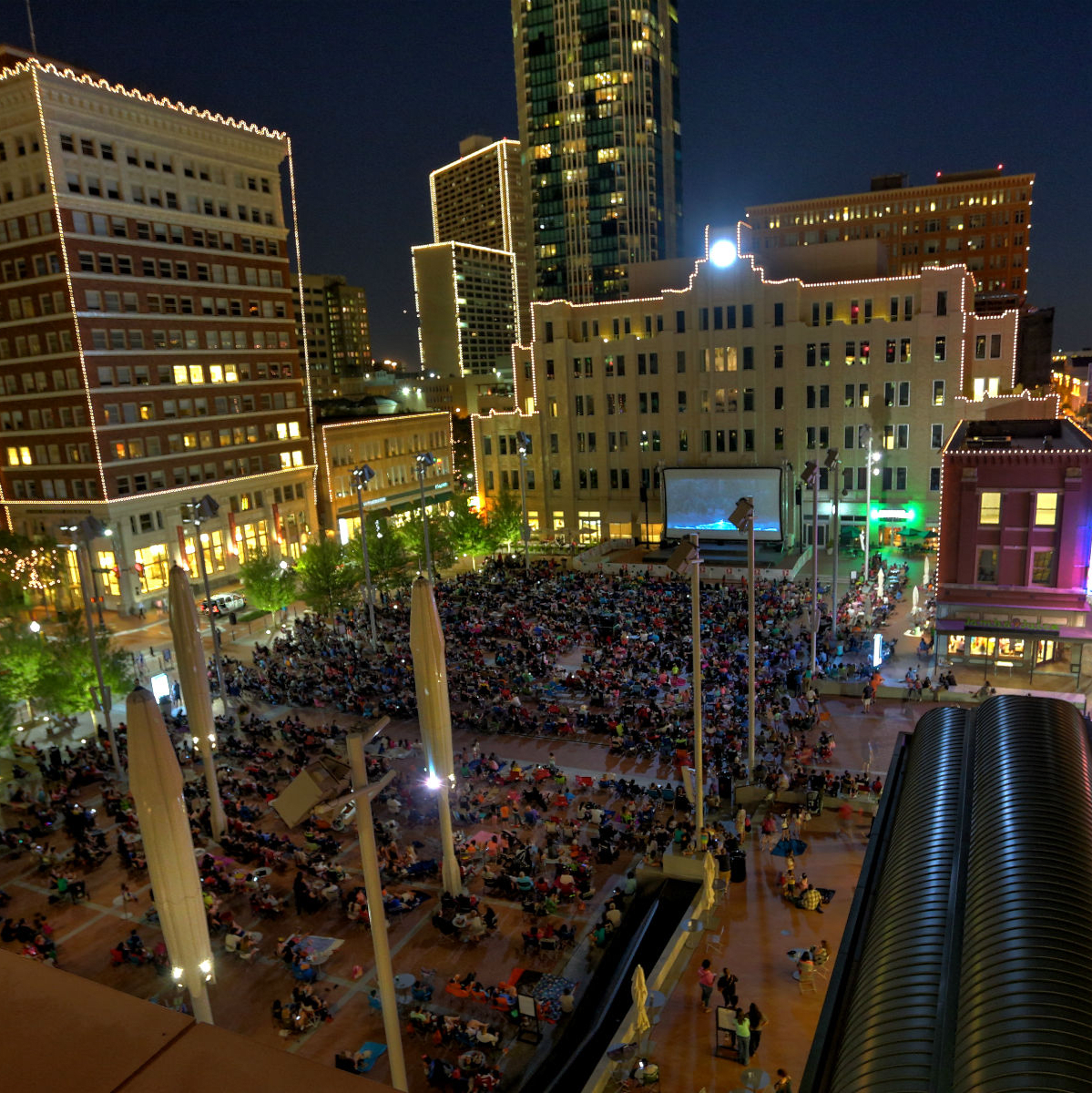 Movie night at Sundance Square Plaza