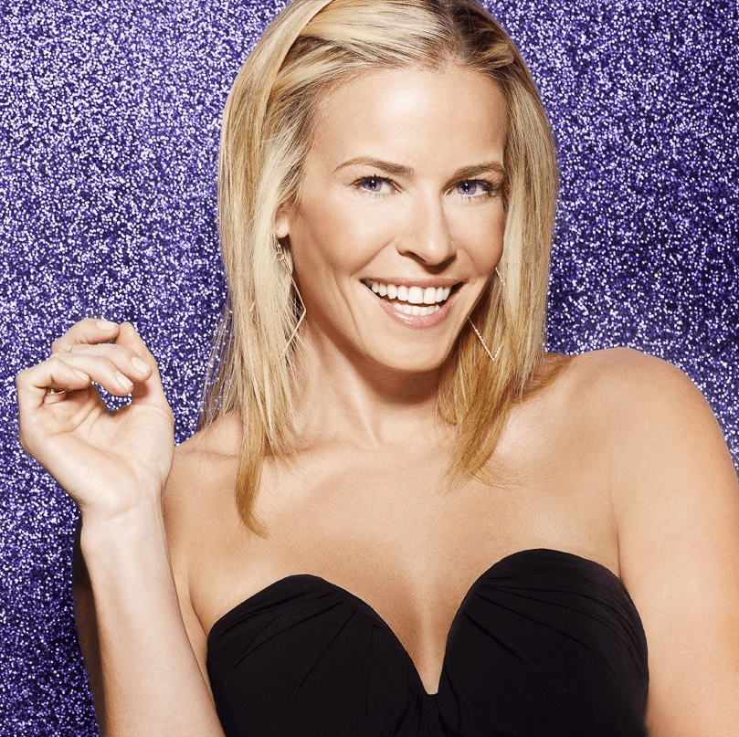 Chelsea Handler, purple background