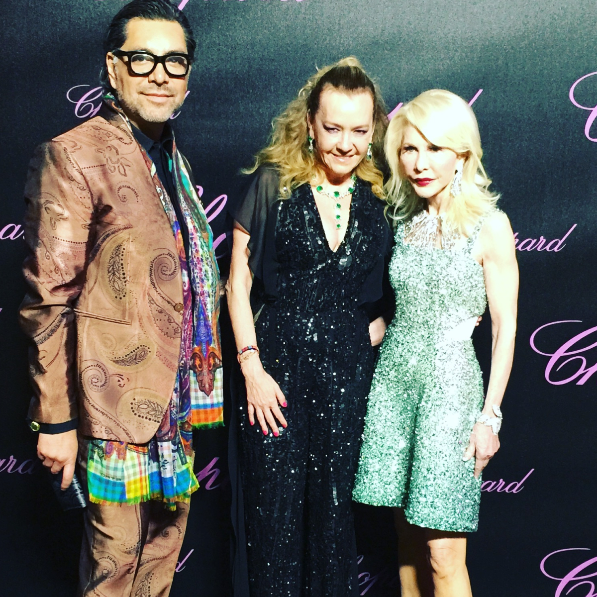 Ceron, Chopard co-president Caroline Scheufele, Diane Lokey Farb at Chopard party in Cannes