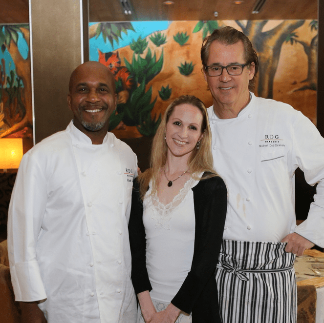Houston Ballet Barre dinner, April 2016 Elliot Kelly, Sara Webb, Robert Del Grande