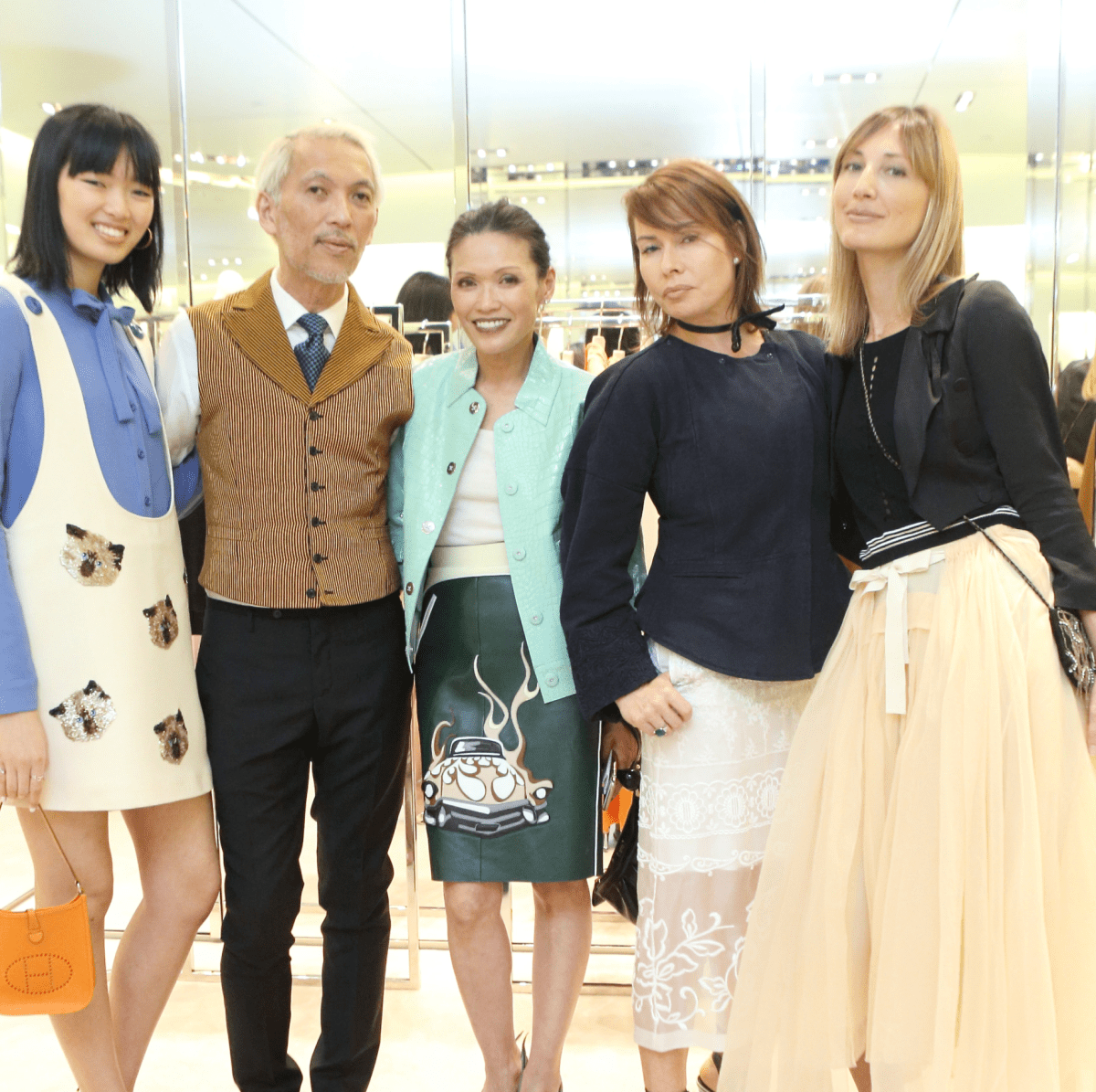 Chloe Nguyen, Marc Nguyen, Duyen Nguyen, Irina Litvak, Tatiana Massey at APAHA kickoff party at Prada