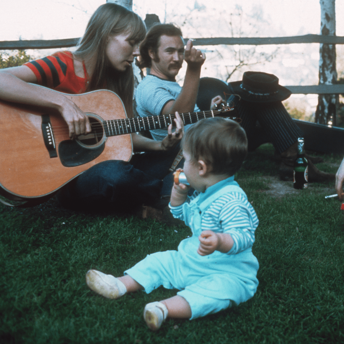 Joni Mitchell, David Crosby, and Eric Clapton at Mama Cass' house