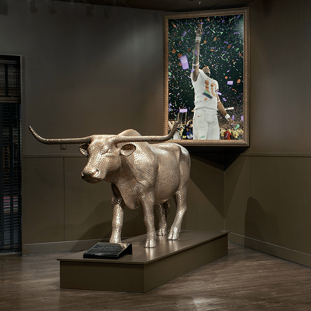 Vince Young Steakhouse Penny Longhorn II art sculpture