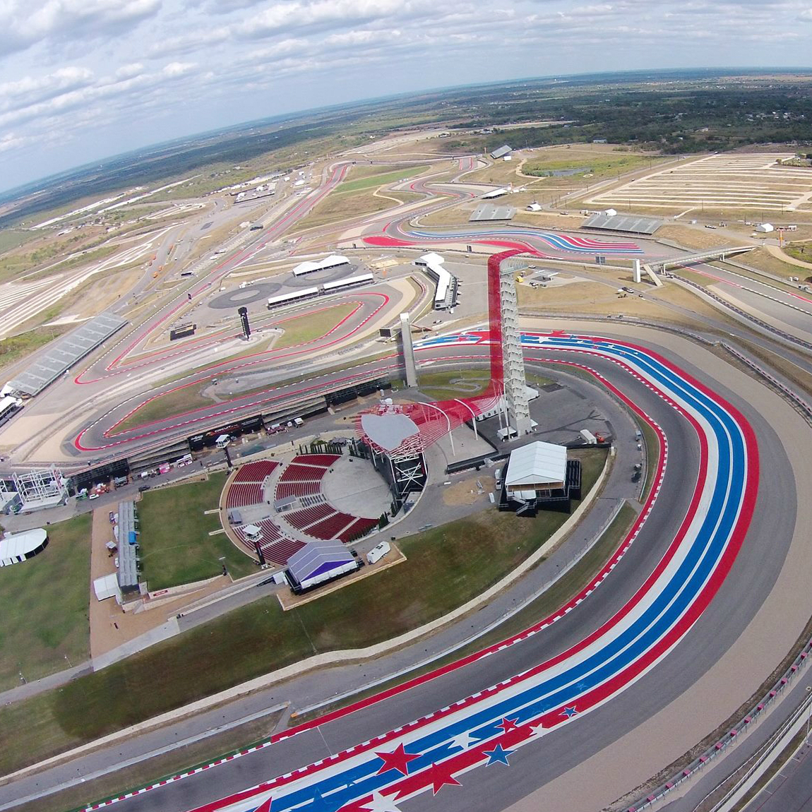 Circuit of the Americas aerial race track Austin 360 Amphitheater tower 2015