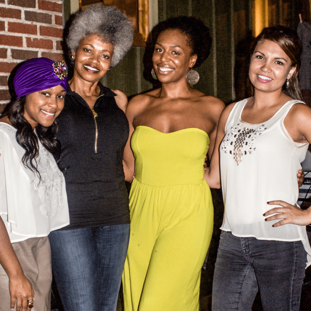 Stacy Davis, Toloria Allen, Danielle Perkins, Erica Debose at Oil Digger Tees launch party at Ruggles Green