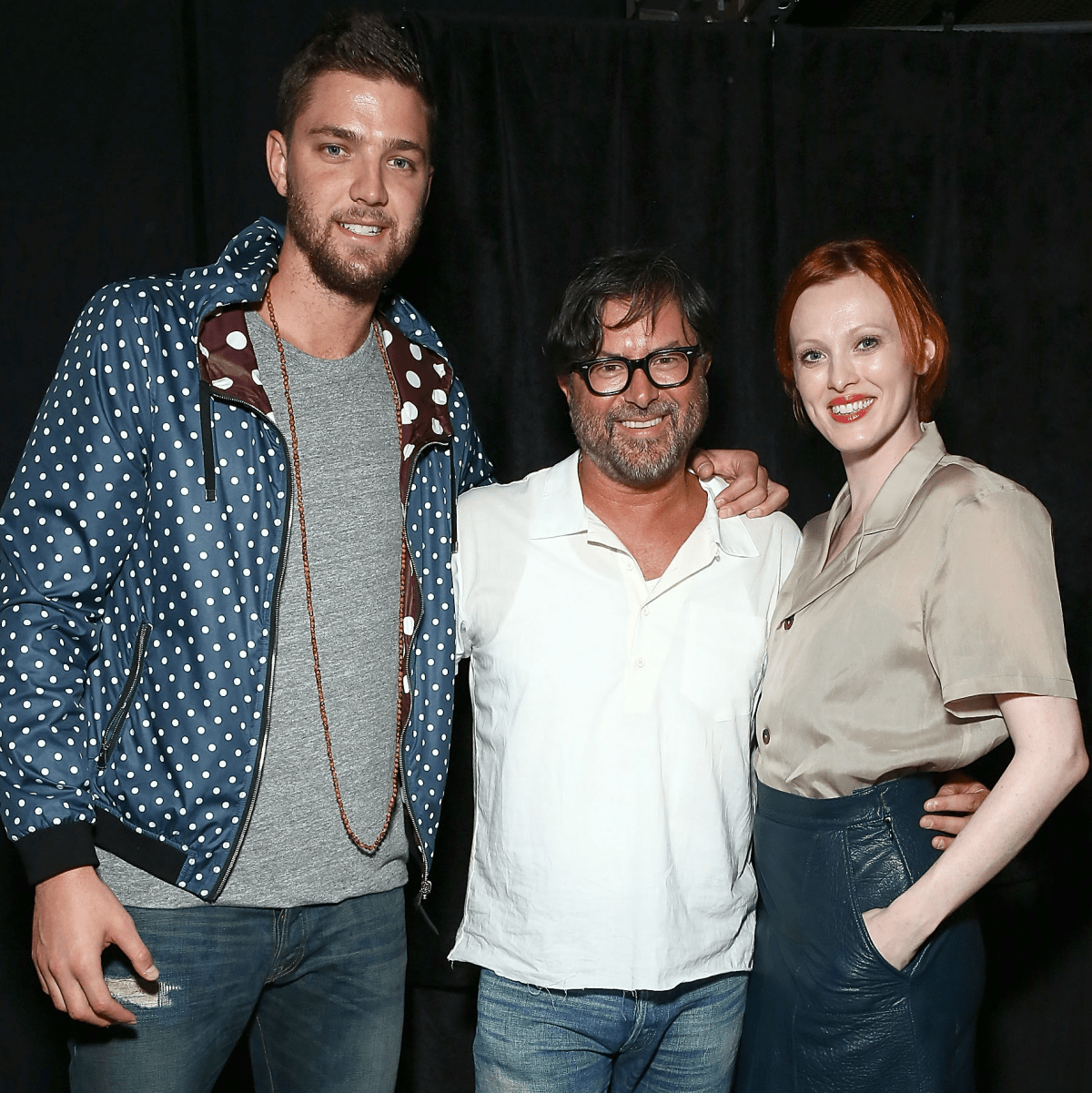 Chandler Parsons, Billy Reid, Karen Elson at Billy Reid runway show July 2015