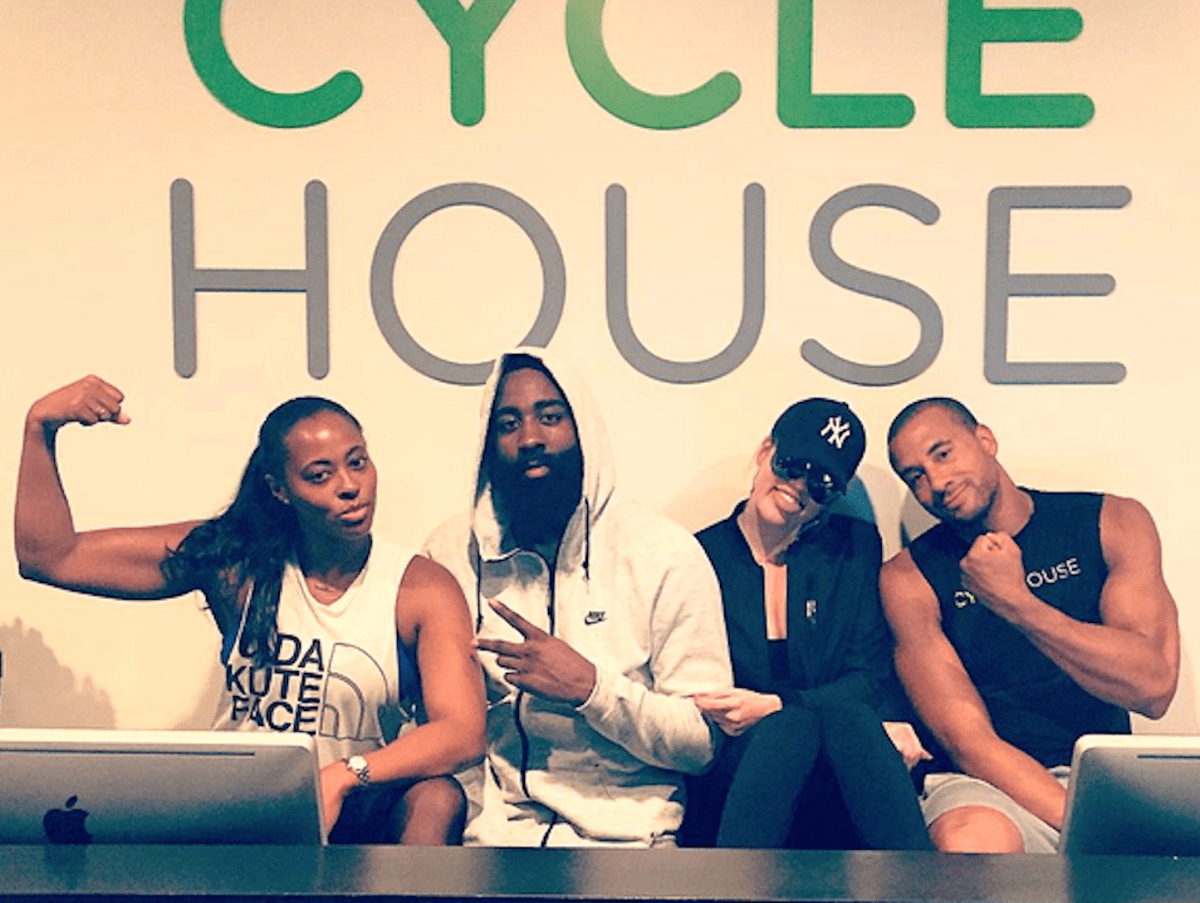 Houston, Khloe Kardashian and James Harden at Spin Class in LA, July 2015