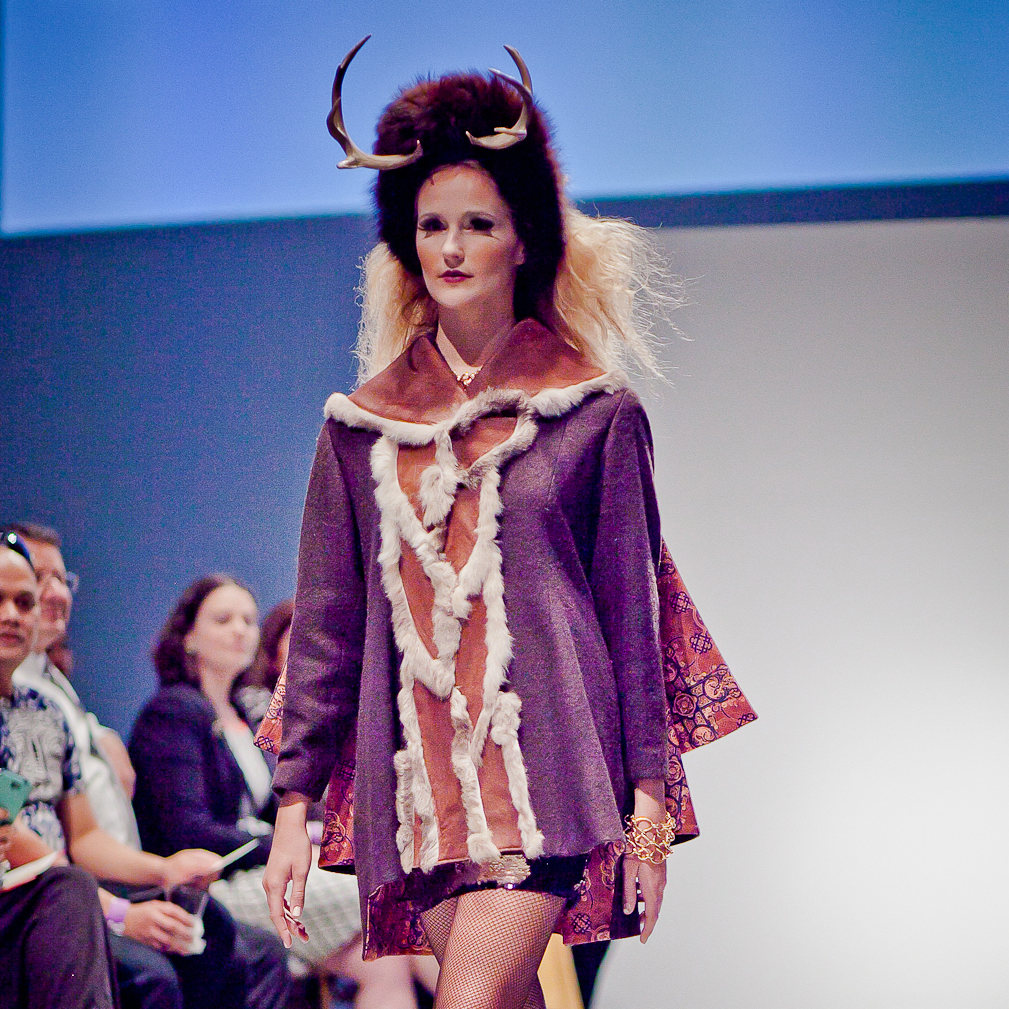 ouston, Fashion Fusion, June 2015, leather fur coat by Judi Hallenbeck