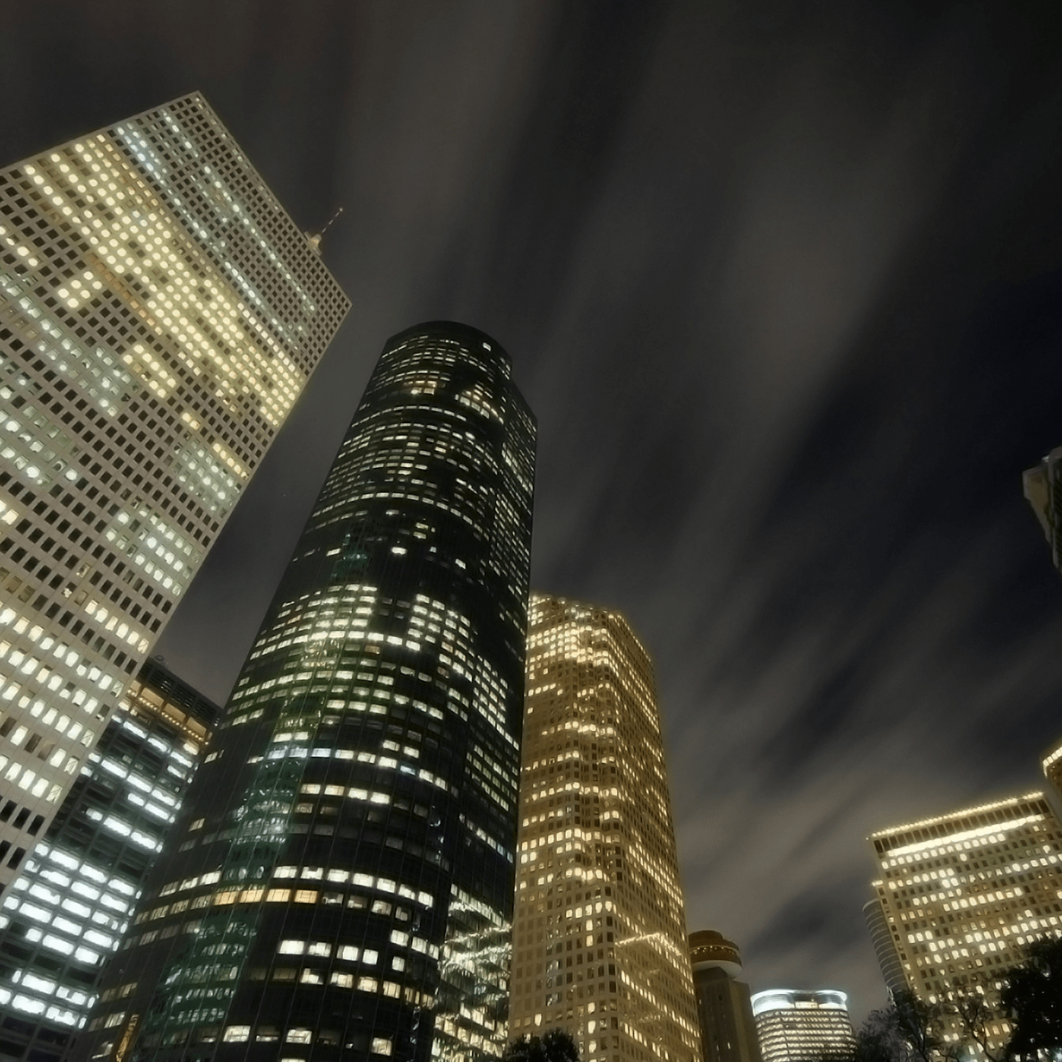 downtown Houston skyline at night