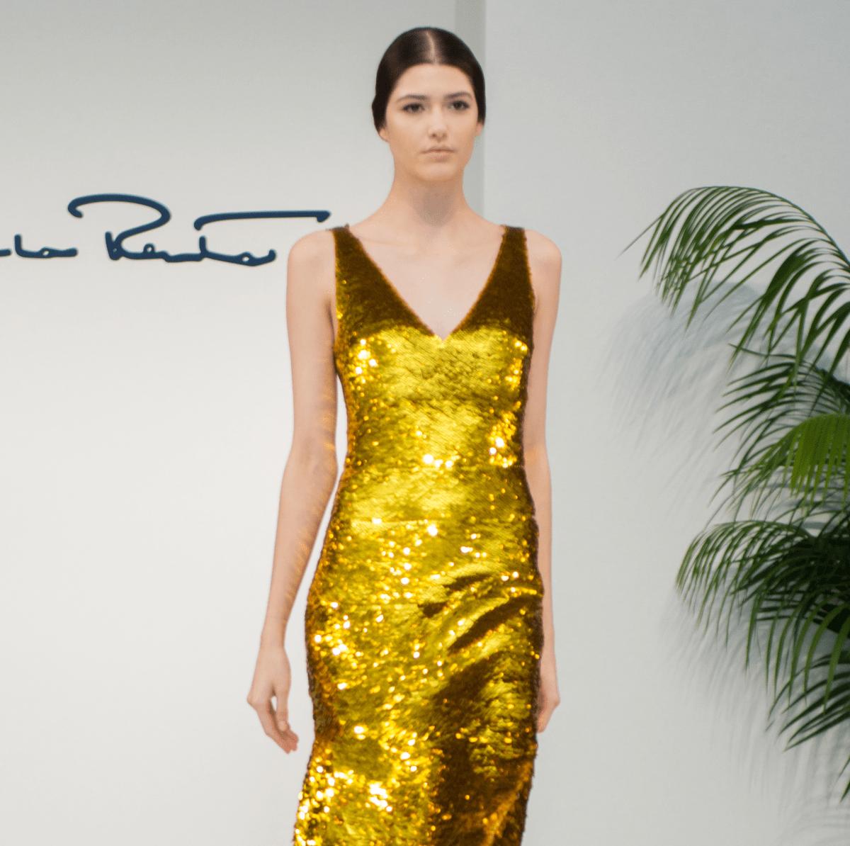 Oscar de la Renta 2018 resort collection gold gown