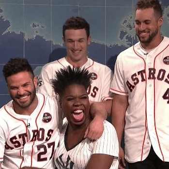 Leslie Jones, Jose Altuve, Alex Bregman, George Springer on Saturday Night Live