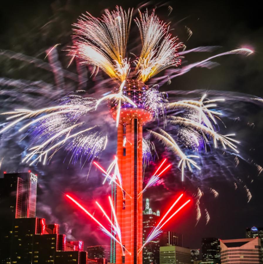 Reunion Tower presents NYE Fireworks