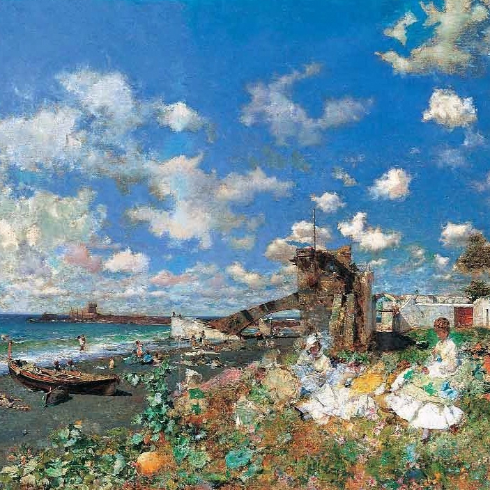 Beach at Portici by Mariano Fortuny, Meadows Museum