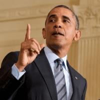 President Barack Obama speaking in East Room White House January 2014