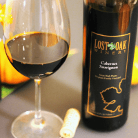 Lost Oak Winery Cabernet red wine glass bottle