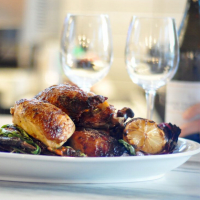 Cantine Italian Cafe and Bar Austin restaurant chicken for two dinner wine dish