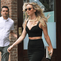Jennifer Lawrence in Michael Kors midriff outfit