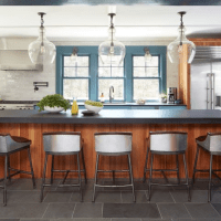 Houzz kitchen with wood island