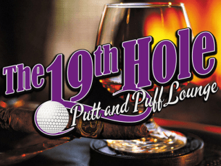 19th Hole Putt and Puff lounge at Long center whisky and golf ball