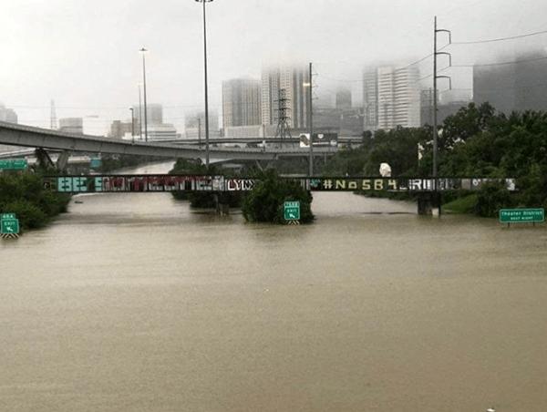 Houston, Hurricane Harvey, flood photos, Interstate I-45