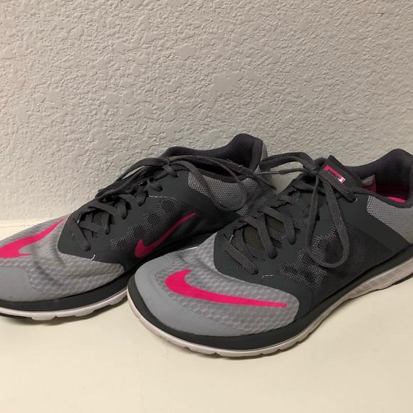 Hot pink and gray nikes