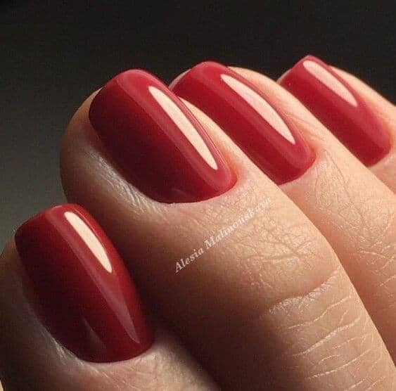 Glossy Lipstick Red Short Nails