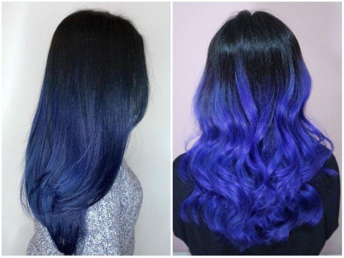 С синими волосами